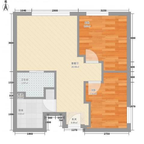 江西财经大学宿舍2室1厅1卫1厨71.00㎡户型图