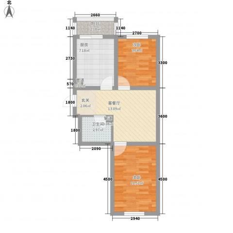 馨龙小区2室1厅1卫1厨64.00㎡户型图