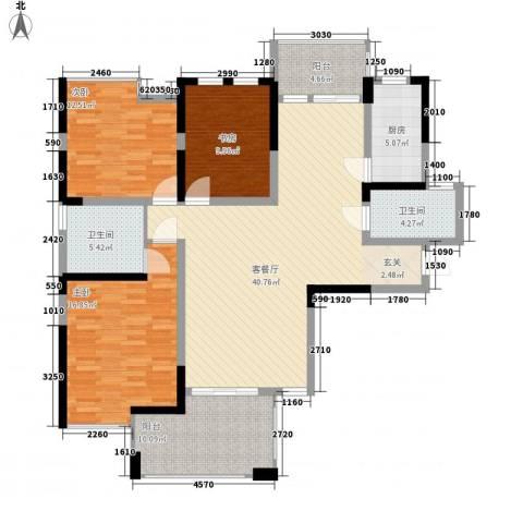 博林金谷四期3室1厅2卫1厨140.00㎡户型图