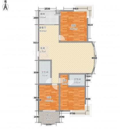 江阳商贸城3室1厅2卫1厨136.00㎡户型图