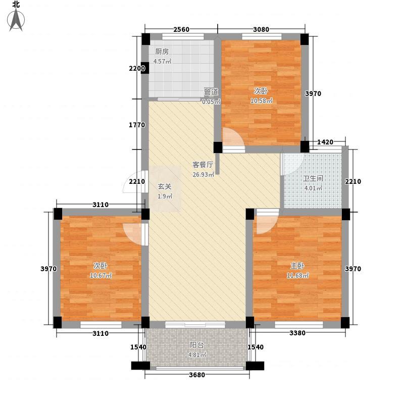 香江花城15.00㎡C户型3室2厅1卫1厨