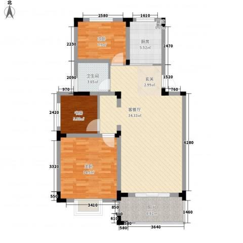 乡村花园南艳湾3室1厅1卫1厨115.00㎡户型图