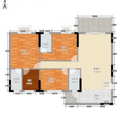 东汇家园4室1厅3卫0厨108.74㎡户型图