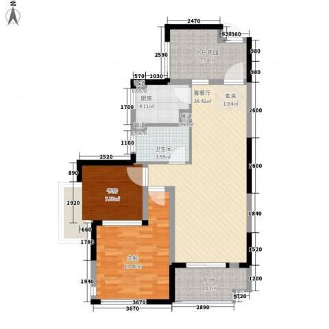 发能太阳海岸2室1厅1卫1厨90.00㎡户型图