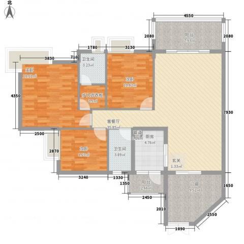 海悦新城3室1厅2卫1厨126.00㎡户型图