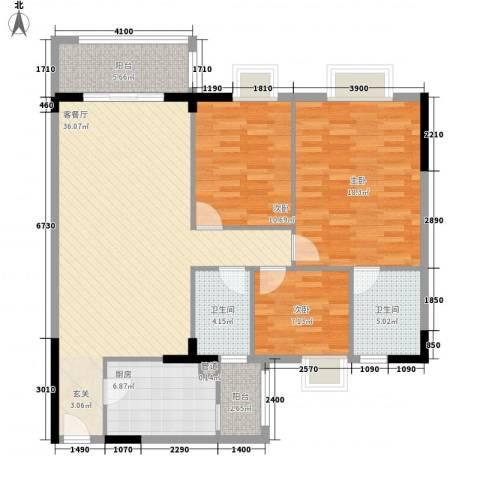 逸湖半岛3室1厅2卫1厨116.00㎡户型图