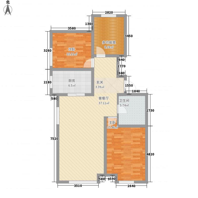 银子湖水都118.00㎡E-2户型3室2厅1卫1厨