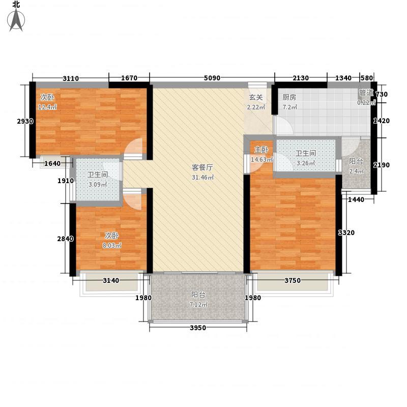 汇银江南富湾123.00㎡洋房A1/A2座标准层02户型3室2厅2卫1厨