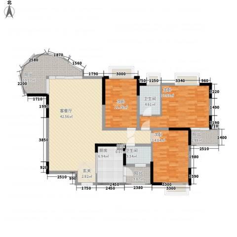 新世纪丽江豪园四期3室1厅2卫1厨165.00㎡户型图