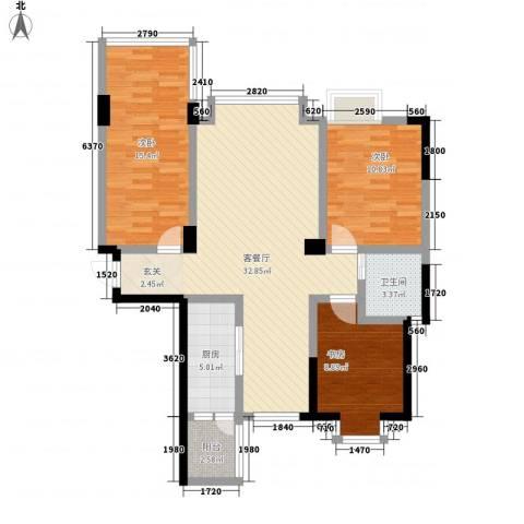 紫贵坊3室1厅1卫1厨115.00㎡户型图