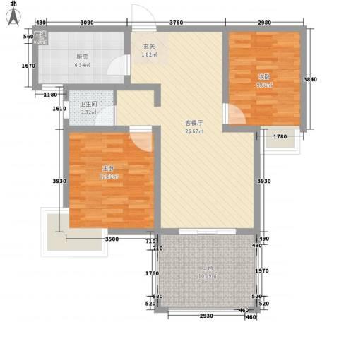 乡村花园南艳湾2室1厅1卫1厨70.00㎡户型图