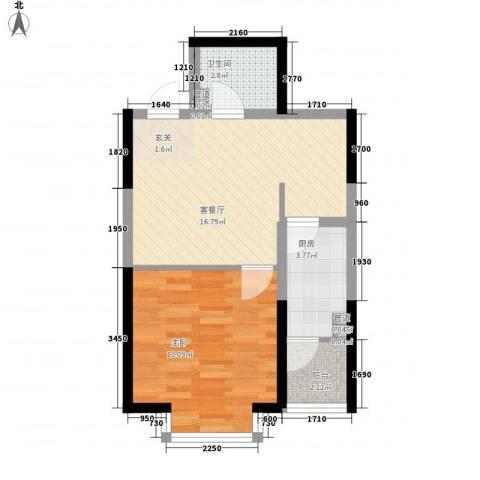 翡翠明珠1室1厅1卫1厨54.00㎡户型图