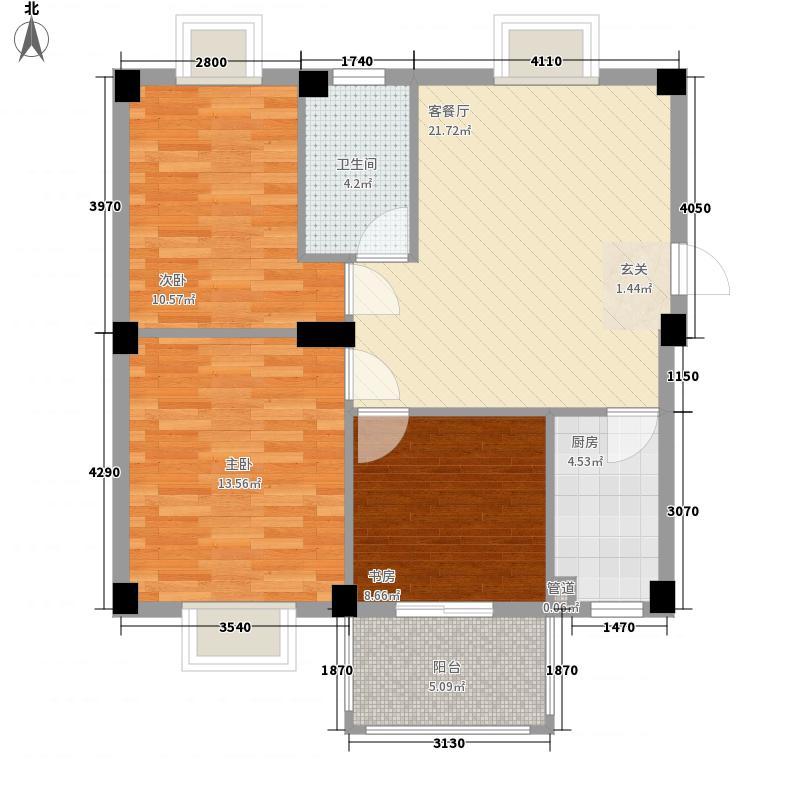 香江红海园三期香江枫景户型图3室2厅1卫1厨