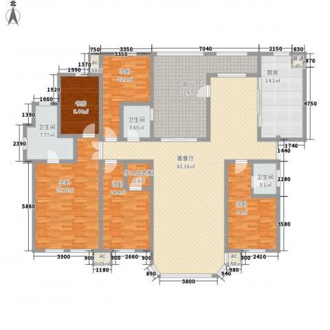 中海南湖1�5室1厅3卫1厨275.00㎡户型图