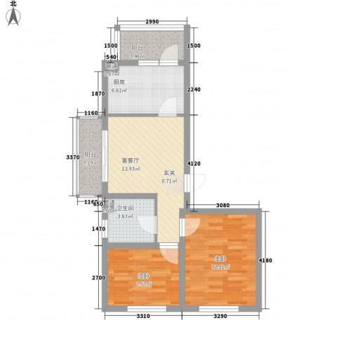东皇先锋2室1厅1卫1厨78.00㎡户型图