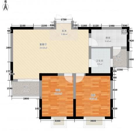 顺驰滨江奥城2室1厅1卫1厨107.00㎡户型图