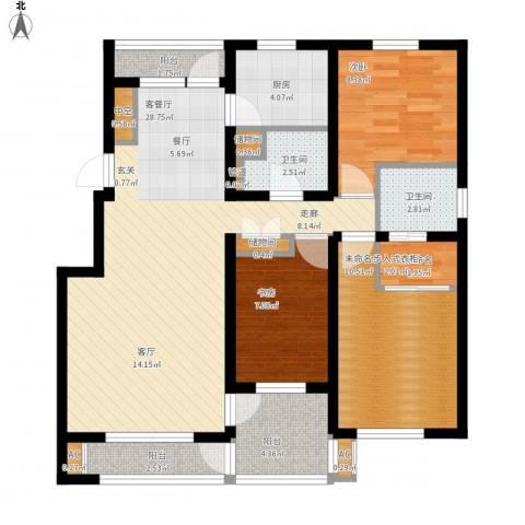 晋斯佳苑2室1厅2卫1厨114.00㎡户型图