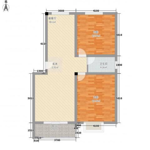 道�耀盈城市广场2室1厅1卫0厨115.00㎡户型图