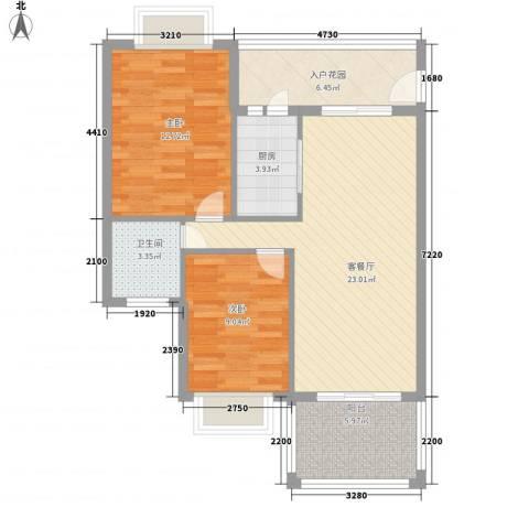 南景秀区2室1厅1卫1厨80.00㎡户型图