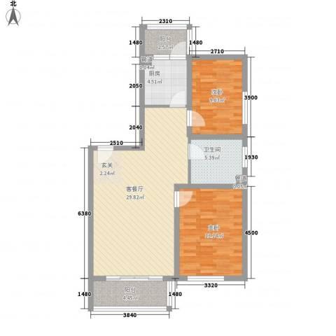 东皇先锋2室1厅1卫1厨102.00㎡户型图