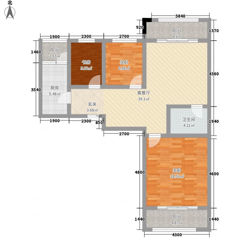 感恩时代广场16.65㎡1#E1户型3室2厅1卫1厨