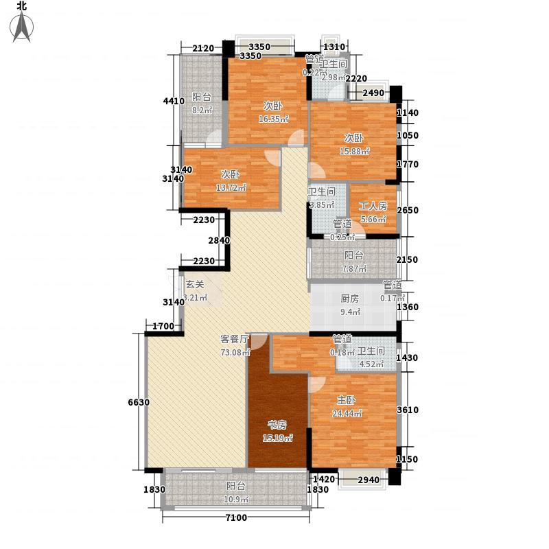 裕通花园244.00㎡西区7幢标准层01户型4室2厅3卫1厨