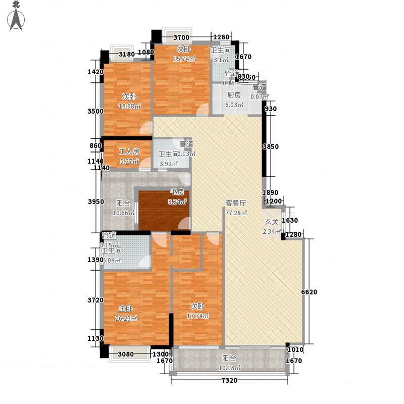 裕通花园244.00㎡西区8幢标准层02户型4室2厅3卫1厨