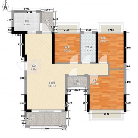 风临美丽湾3室1厅1卫1厨102.00㎡户型图