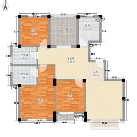 金庭家园3室1厅2卫1厨125.00㎡户型图