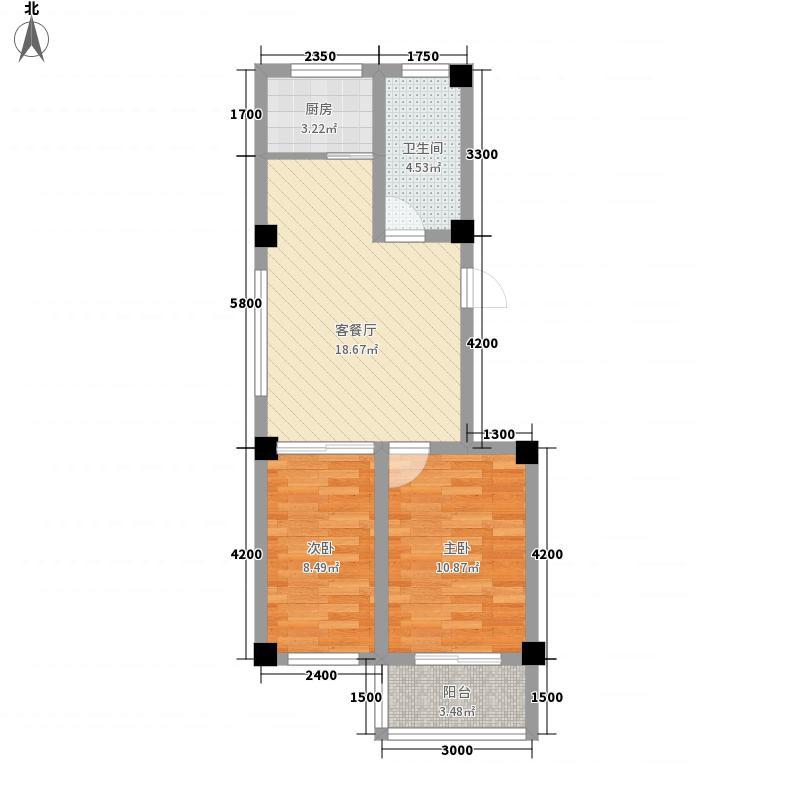 静港清岛湾64.30㎡一期小高层A户型2室2厅1卫1厨