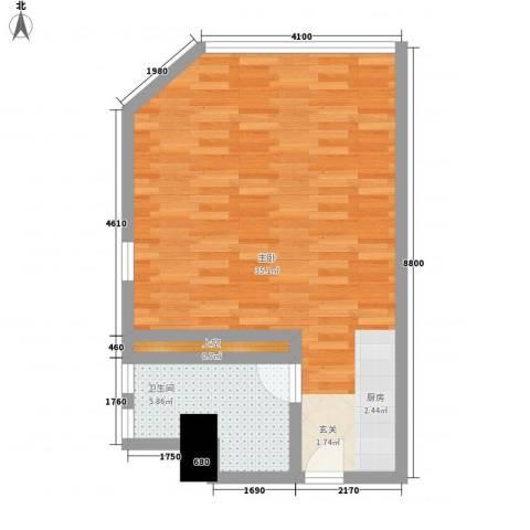 万菱君临国际公寓1室0厅1卫0厨59.00㎡户型图