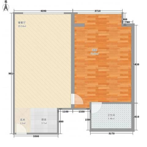 万菱君临国际公寓1室1厅1卫0厨93.00㎡户型图