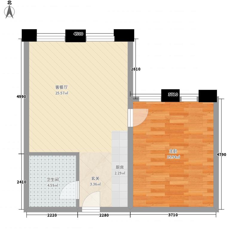 黄金1号公馆65.83㎡3#楼11至28层L户型1室1厅1卫1厨