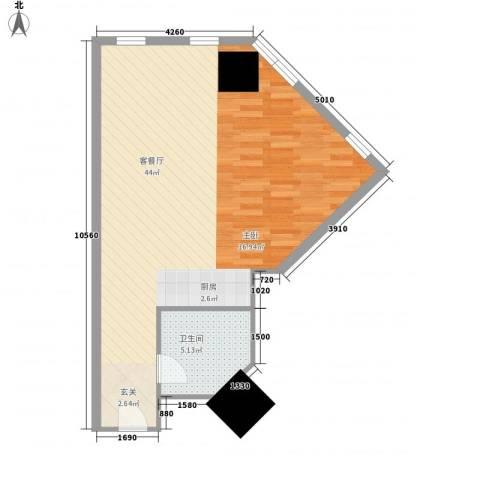 万菱君临国际公寓1厅1卫0厨68.00㎡户型图