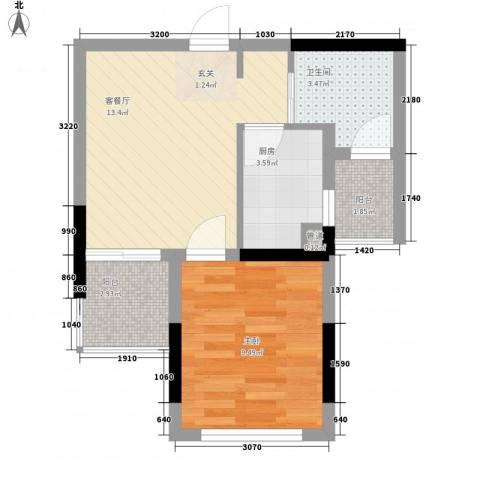风临美丽湾1室1厅1卫1厨51.00㎡户型图