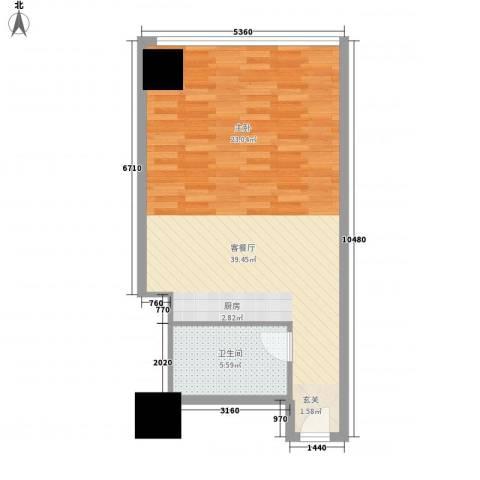 万菱君临国际公寓1厅1卫0厨63.00㎡户型图
