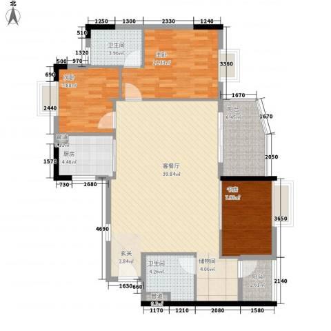 盛和新都会.3室1厅2卫1厨113.00㎡户型图