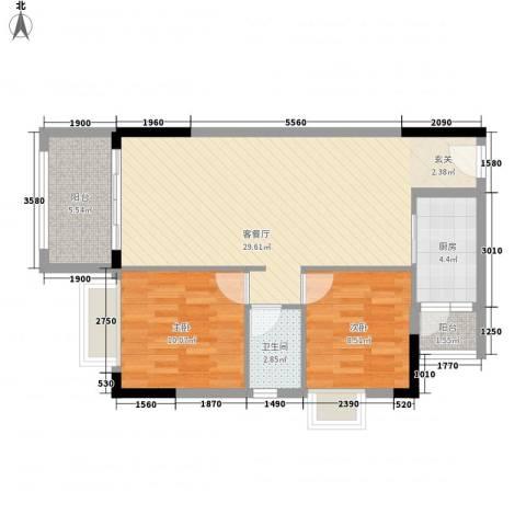 美域华庭2室1厅1卫1厨88.00㎡户型图
