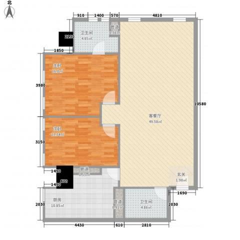 万菱君临国际公寓2室1厅2卫1厨139.00㎡户型图