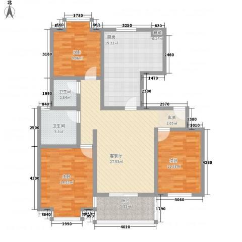 旺旺家缘3室1厅2卫1厨134.00㎡户型图
