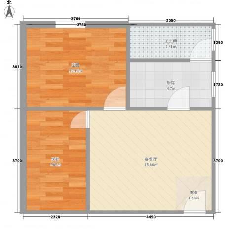 育才街大院2室1厅1卫1厨59.00㎡户型图
