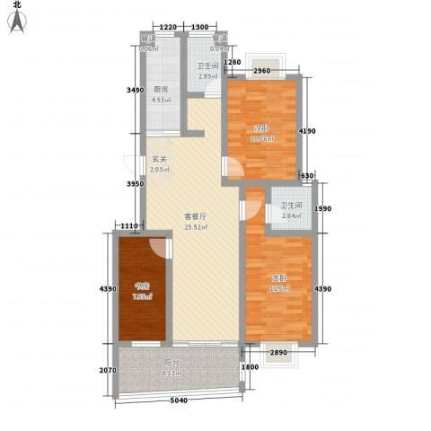 德惠・尚书房3室1厅2卫1厨112.00㎡户型图