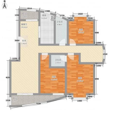 旺旺家缘3室1厅2卫1厨138.00㎡户型图