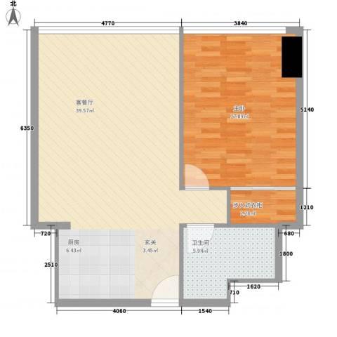 万菱君临国际公寓1室1厅1卫0厨90.00㎡户型图