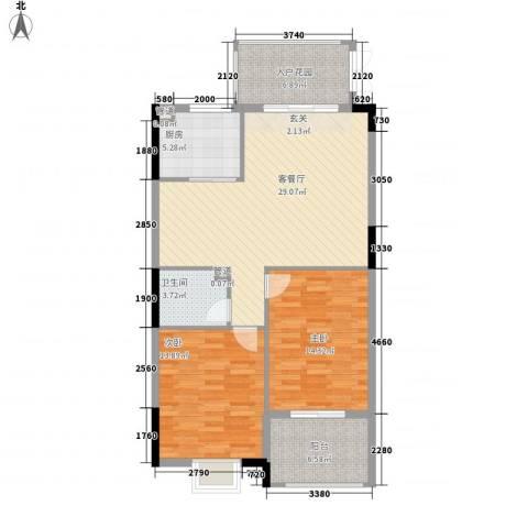万豪臻品2室1厅1卫1厨89.00㎡户型图