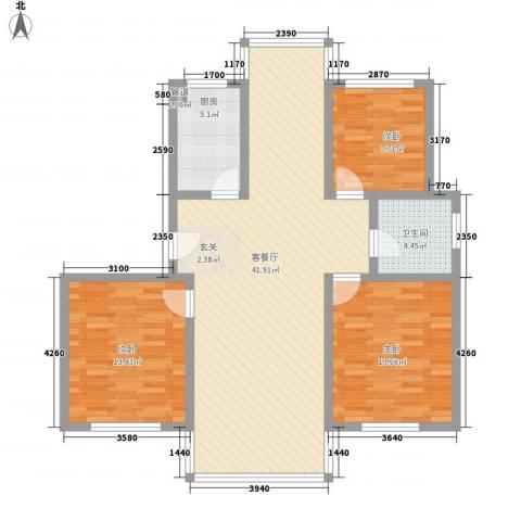 旺旺家缘3室1厅1卫1厨123.00㎡户型图