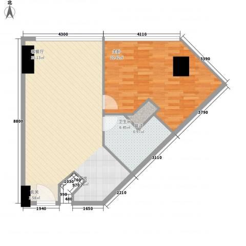 万菱君临国际公寓1室1厅1卫0厨88.00㎡户型图