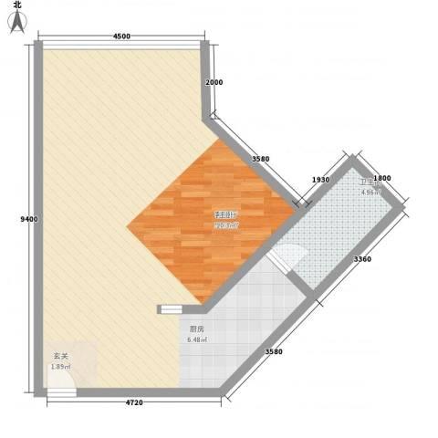 万菱君临国际公寓1厅1卫0厨77.00㎡户型图