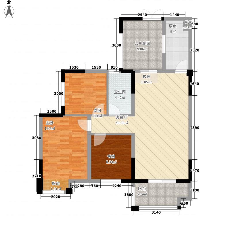 长阳新城1.80㎡B户型3室2厅1卫1厨
