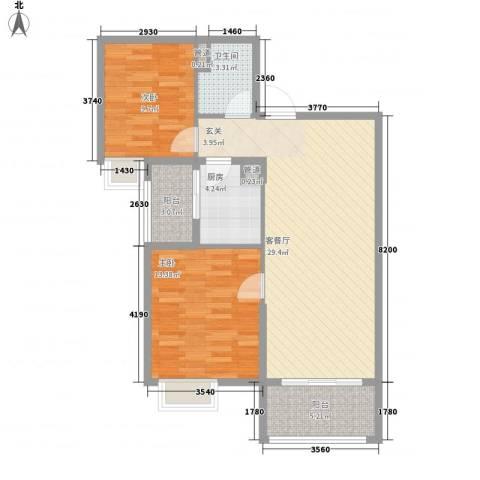 昌盛双喜城2室1厅1卫1厨102.00㎡户型图